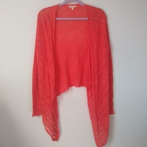 Eileen Fisher Coral Open Knit Waterfall Cardigan